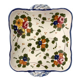 1960s Vintage Italian Ceramic Hand Painted Botanical Candy Dish For Sale