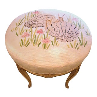Snail Design Needlepoint Topped Low Stool