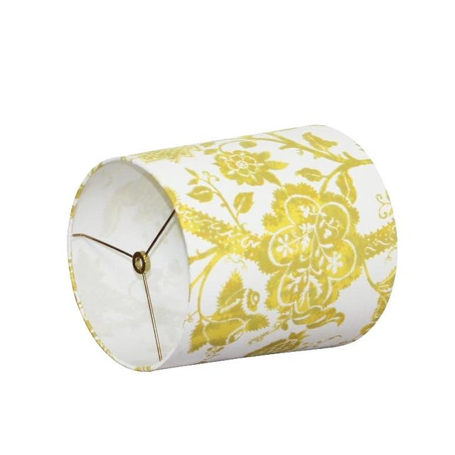 Boho Chic Custom Yellow Floral Drum Lamp Shade For Sale - Image 3 of 5