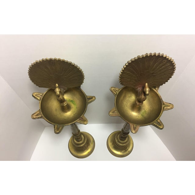 Gold 20th Century Vintage Brass Flamingo Pillar For Sale - Image 8 of 11
