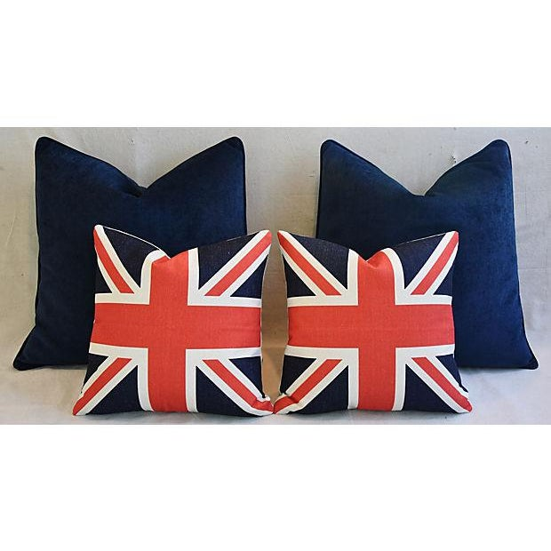 Blue Custom Tailored Blue Velvet & Union Jack Flag Feather/Down Pillows - Set of 4 For Sale - Image 8 of 9