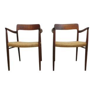 Mid Century j.l. Moller Danish Modern Teak Framed Rope Seat #56 Arm Dining Chairs by j.l. Moller For Sale