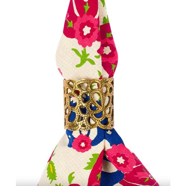 Oscar De La Renta Brass Gardenia Napkin Ring- A Pair - Image 6 of 8