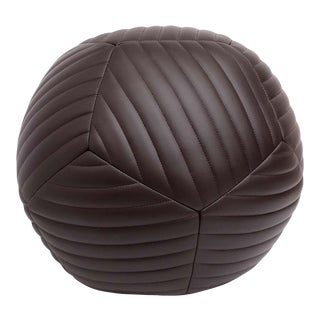 Banded Ottoman in Chocolate Brown Leather by Moses Nadel For Sale