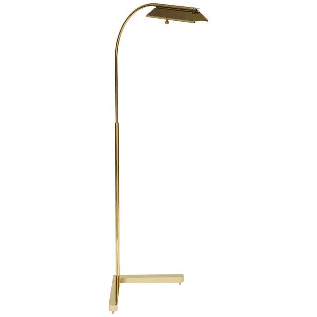 1980s Casella Lighting Adjustable Floor Lamp in Polished Brass For Sale