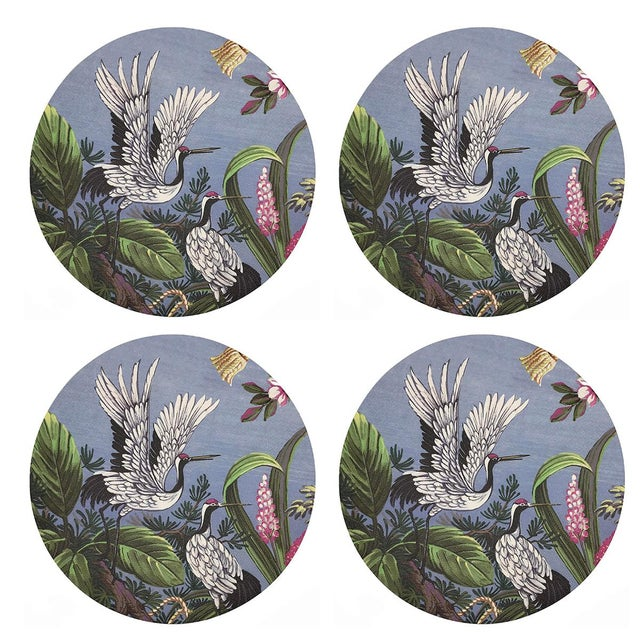 """Contemporary Summer Palace Pink Gray, 16"""" Round Pebble Placemats, Set of 4 For Sale - Image 3 of 3"""