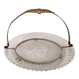 Image of Antique Crystal Bonbon Plate With Handle For Sale
