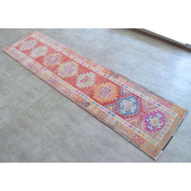 "Vintage Turkish runner rug is from the Kurdish region. This extra perfect piece is about 50-60 years old. Size: 2'9"" x..."