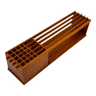 Handcrafted Teak Desk Organizer For Sale