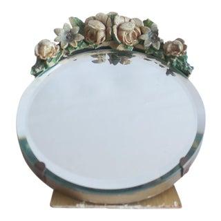 1930s Antique Round Barbola Mirror For Sale