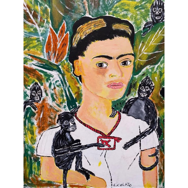 Incredible large scale portrait of Frida Kahlo with monkeys on artist board Masonite heavy signed E. Colato in very good...