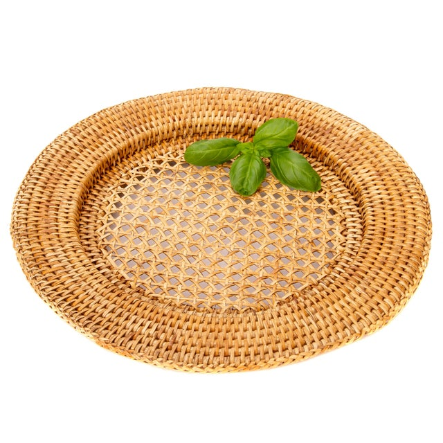 """Boho Chic Artifacts Rattan 13"""" Open Weave Charger For Sale - Image 3 of 5"""