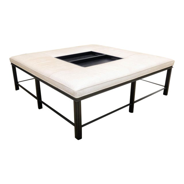Baker Furniture Leather Porter Ottoman/Coffee Table Designed by Bill Sofield For Sale