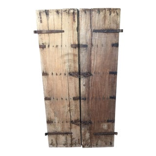 19th Century Rustic Doors With Wonderful Iron Hardware - a Pair For Sale