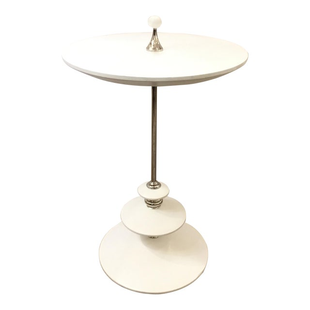 White and Chrome Modern Caracole Side Table For Sale