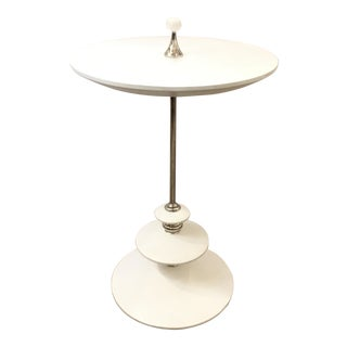 White and Chromw Modern Caracole Side Table For Sale