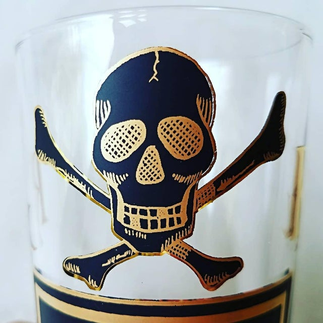 """Georges Briard Georges Briard """"Name Your Poison Glasses"""" Skull and Crossbones Glasses - Set of 8 For Sale - Image 4 of 13"""