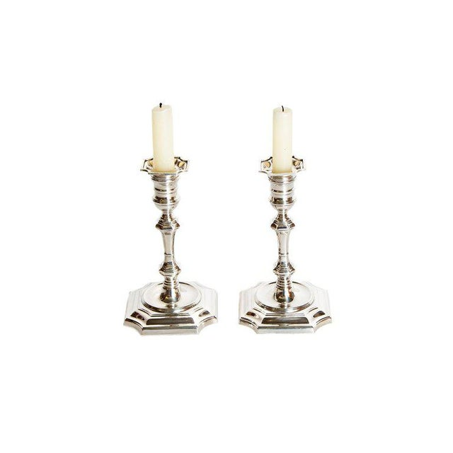 Pair of George II Style Sterling Silver Candlesticks by Cartier For Sale - Image 13 of 13