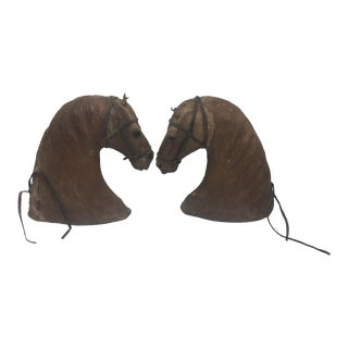 Vintage Leather Horse Heads - a Pair For Sale