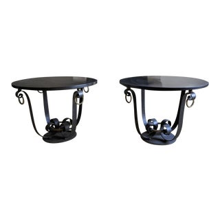 Raymond Subes Pair of Wrought Iron & Marble Top Coffee Table For Sale