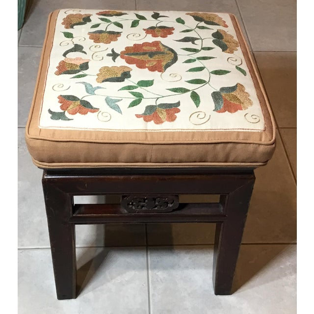 Asian Antique Upholstered Chinese Foot Stool For Sale - Image 3 of 13