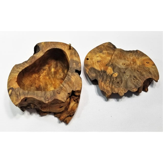 Vintage Burl Wood Trinket Jewelry Box by Doug Muscanell - Signed - Organic Mid Century Modern Palm Beach Boho Chic Tree For Sale - Image 11 of 13