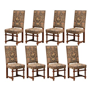 Set of Eight French Louis XIII Carved Walnut Dining Chairs With Tapestry For Sale