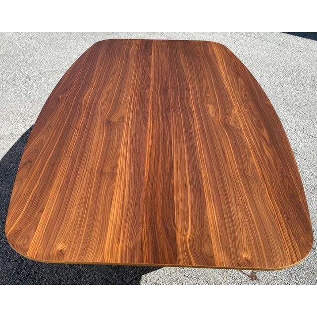 Contemporary Walnut Dining Table With Stainless Steel Powder Coated Base For Sale - Image 3 of 9