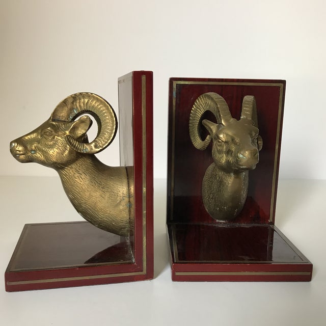 Mid Century Brass Ram Cherry Wood Bookends - A Pair For Sale - Image 4 of 9