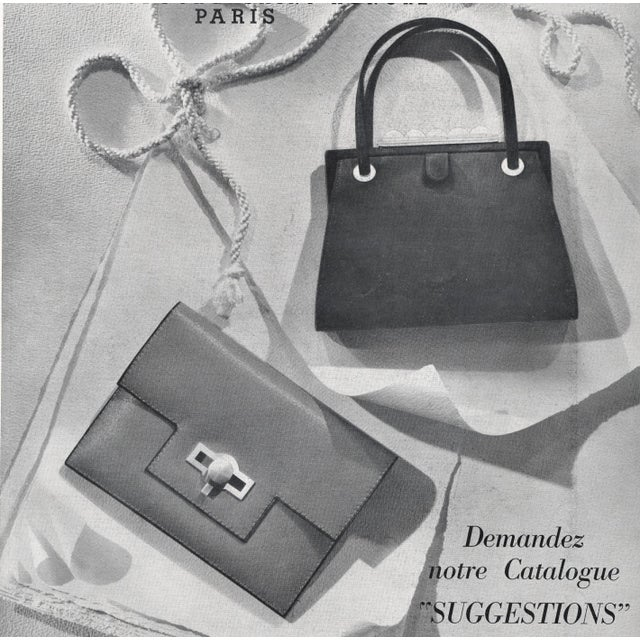 This is an original vintage French advertisement for prestigious ladies' handbags under the iconic Hermes label. It is...