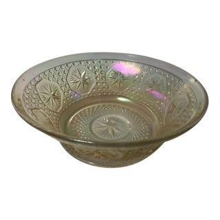Vintage Imperial Iridescent Clear Carnival Glass Bowl With Starburst Pattern For Sale