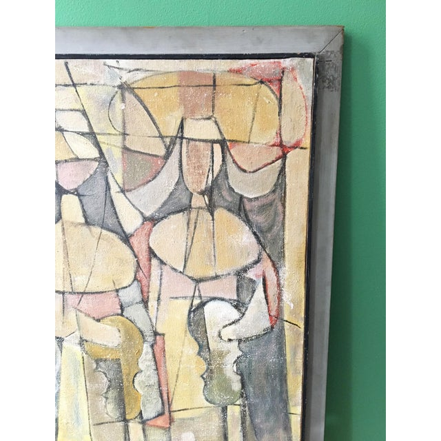 Vintage modernist painting depicting two nuns as musicians, using a pastel color block cubist technique. Signed on the...