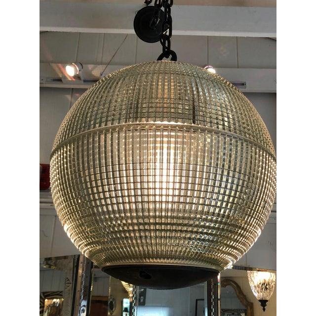 Glass Parisian Holophane Globe Pendant Chandelier For Sale - Image 7 of 13