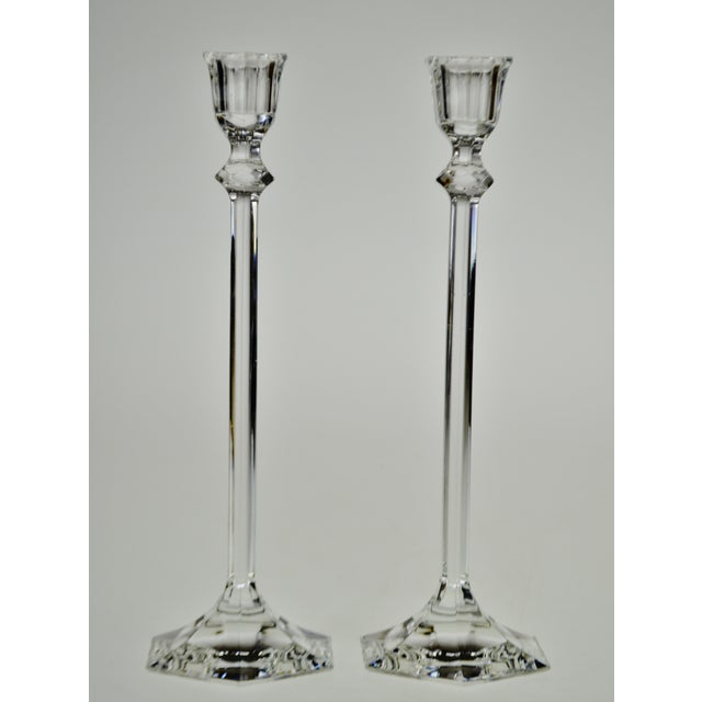 Traditional Vintage Glass Candlesticks - a Pair For Sale - Image 3 of 12