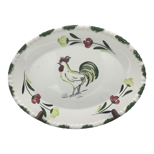 1950s Blue Ridge Rooster Platter From Southern Potteries For Sale