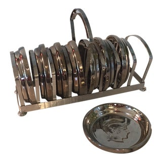 Mid-Century Chrome Coasters & Rack For Sale