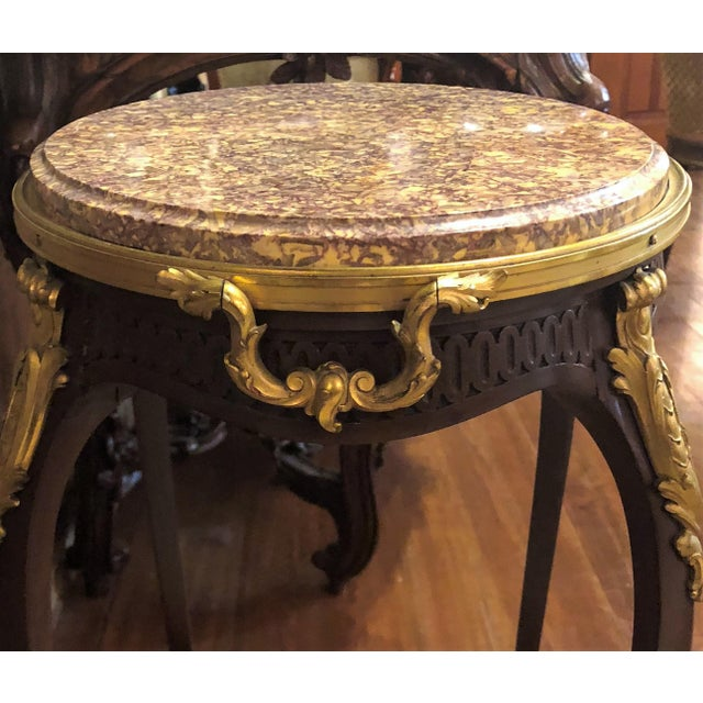 Empire Antique French Mahogany Ormolu Mounted Occasional Table with Marble Top. For Sale - Image 3 of 5