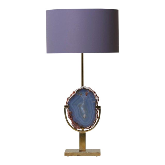 Pair of Stunning Agate Stone and Brass Table Lamps in the Manner of Willy Daro For Sale