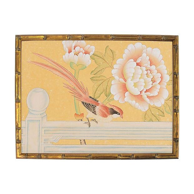 "1970's Chinoiserie Painting ""Pheasant on Fence"" Framed in Gold-Leafed Faux Bamboo For Sale In Los Angeles - Image 6 of 6"