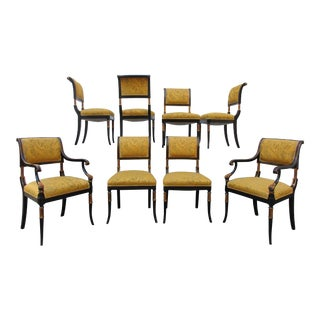 Antique Chinoiserie Regency Style Dining Chairs - Set of 8 For Sale