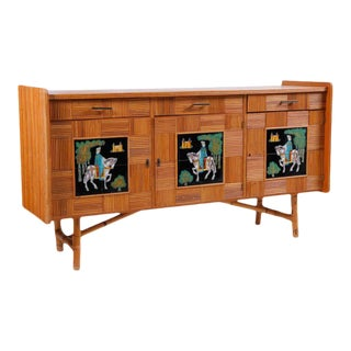 Italian Split Reed Bamboo Dresser With Painted Tile Panels, 1950s For Sale
