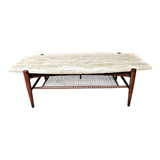 20th Century Danish Modern Dux Travertine Coffee Table For Sale