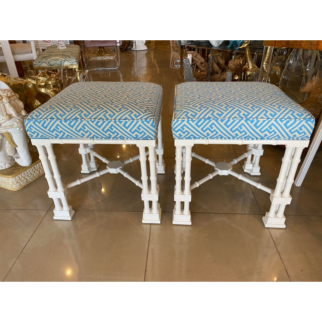 Vintage Palm Beach Faux Bamboo Blue & White Lacquered Greek Key Upholstered Benches Stools -A Pair For Sale In West Palm - Image 6 of 13