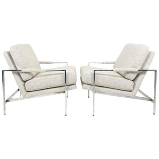 Milo Baughman Chrome Frame Lounge Chairs in New Upholstery - A Pair For Sale