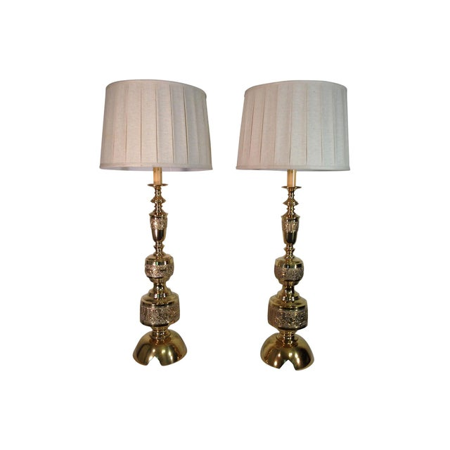 James Mont Solid Brass Lamps - Pair For Sale