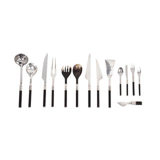 Afra and Tobia Scarpa for San Lorenzo Studio Silver Flatware - 14 Pc. Set For Sale