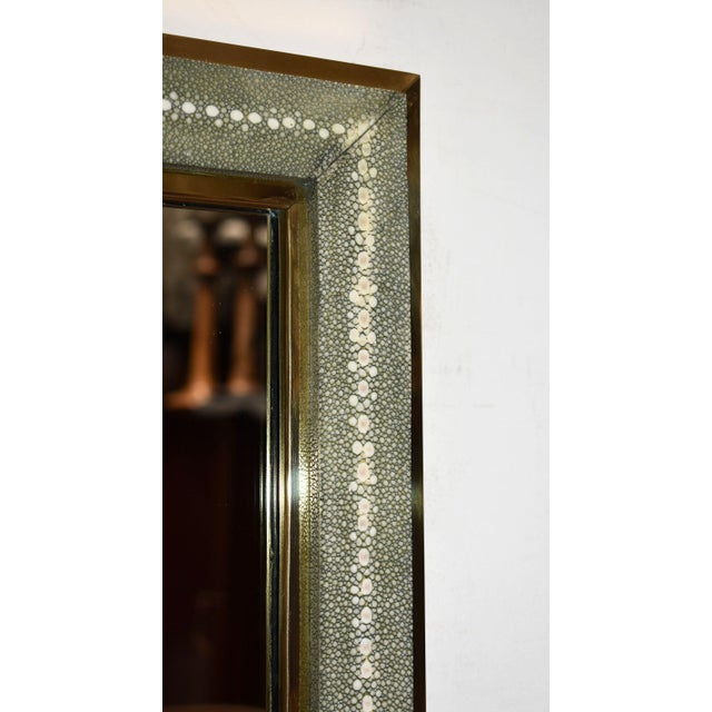 2000 - 2009 Celadon Shagreen Wall Mirror For Sale - Image 5 of 10