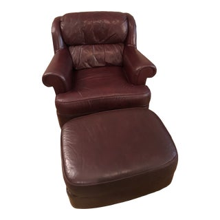 Sherrill Furniture Armchair With Ottoman For Sale