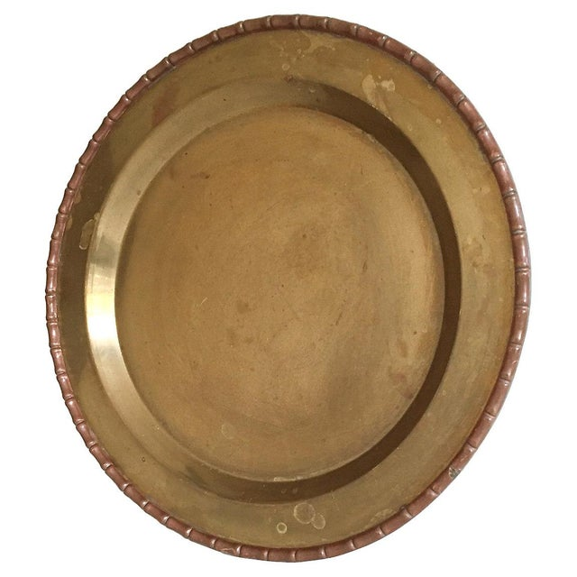 Bamboo-Style Round Brass Tray - Image 2 of 4