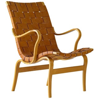 "Bruno Mathsson Leather ""EVA"" Lounge Chair For Sale"